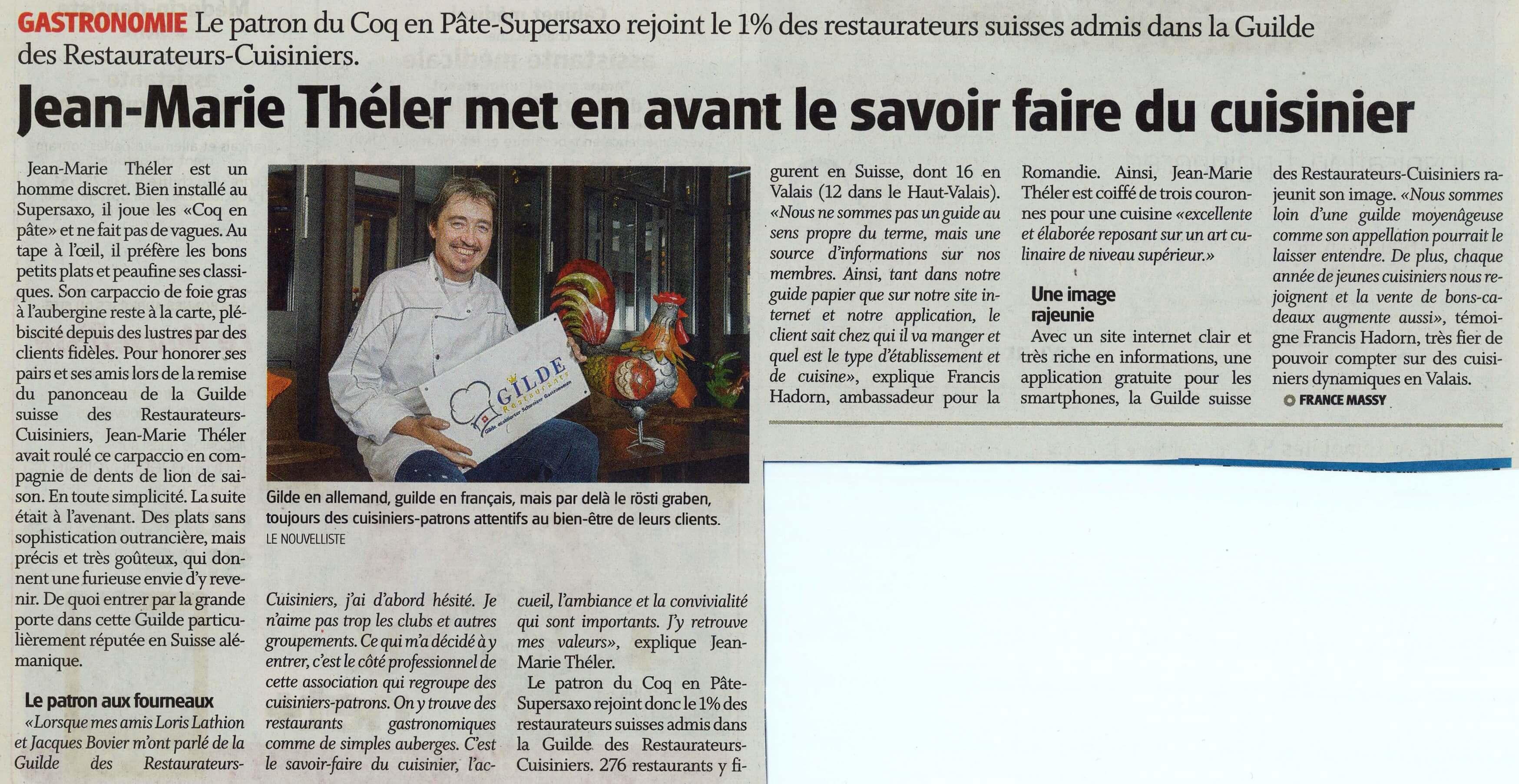 Admission du Coq en Pâte à Sion dans la GUILDE des Restaurateurs – Cuisiniers
